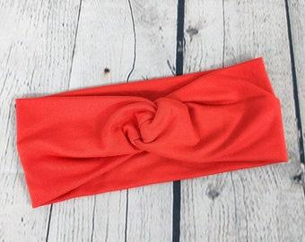 Adult Headband - Knot Headband - Faux Knot Headband - Orange - Double Brushed Polyester