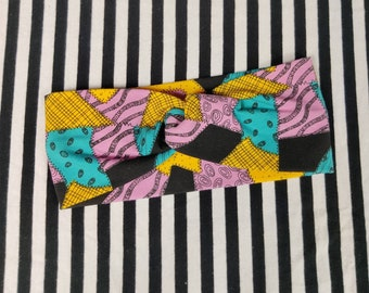 Adult Headband - Faux Knot Headband-  Patchwork Print - Halloween
