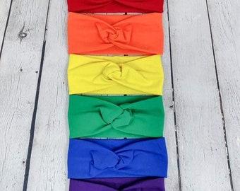 Set of Six Faux Knot Headbands - Rainbow - Twist Headband