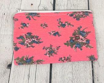 Zipper Pouch - Pink Floral