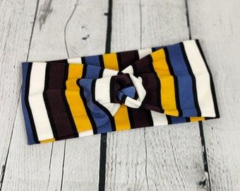 Adult Headband - Knot Headband - Faux Knot Headband - Autumn Stripes - Double Brushed Polyester