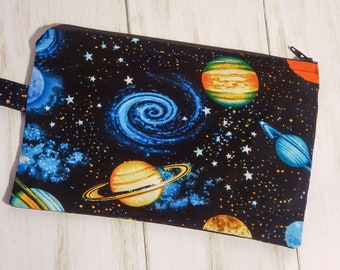 Small Zipper Bag - Wristlet Bag - Black Galaxy - Outer Space - Planets