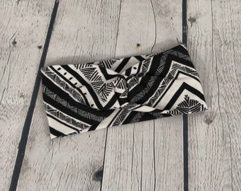 Adult Headband - Twist Headband - Knot Headband - Faux Knot Headband - Knit Headband - Black and White Geometric
