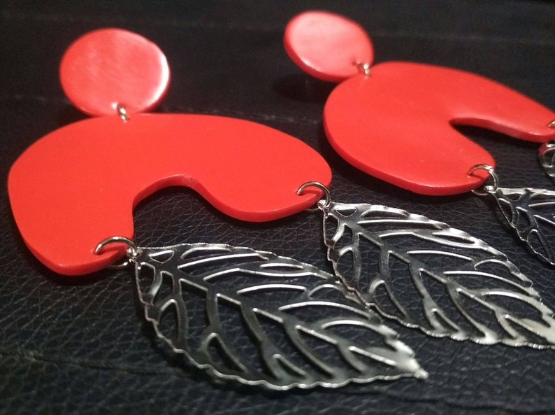 Oversized TS Eleph Earrings/Clay Dangle Earrings/Clay Drop Earrings/Boho  Sytle Earrings/Cadmium Red Hue Eleph Dangle Earrings/Malaysia