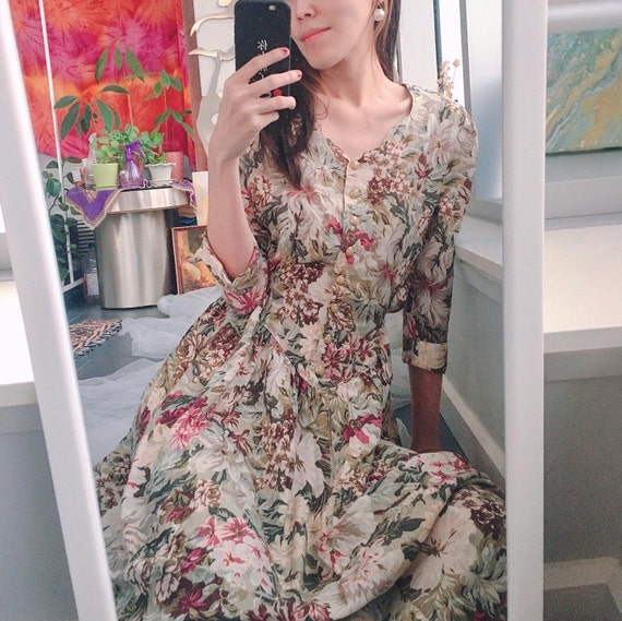 Vintage 80s/90s floral midi dress