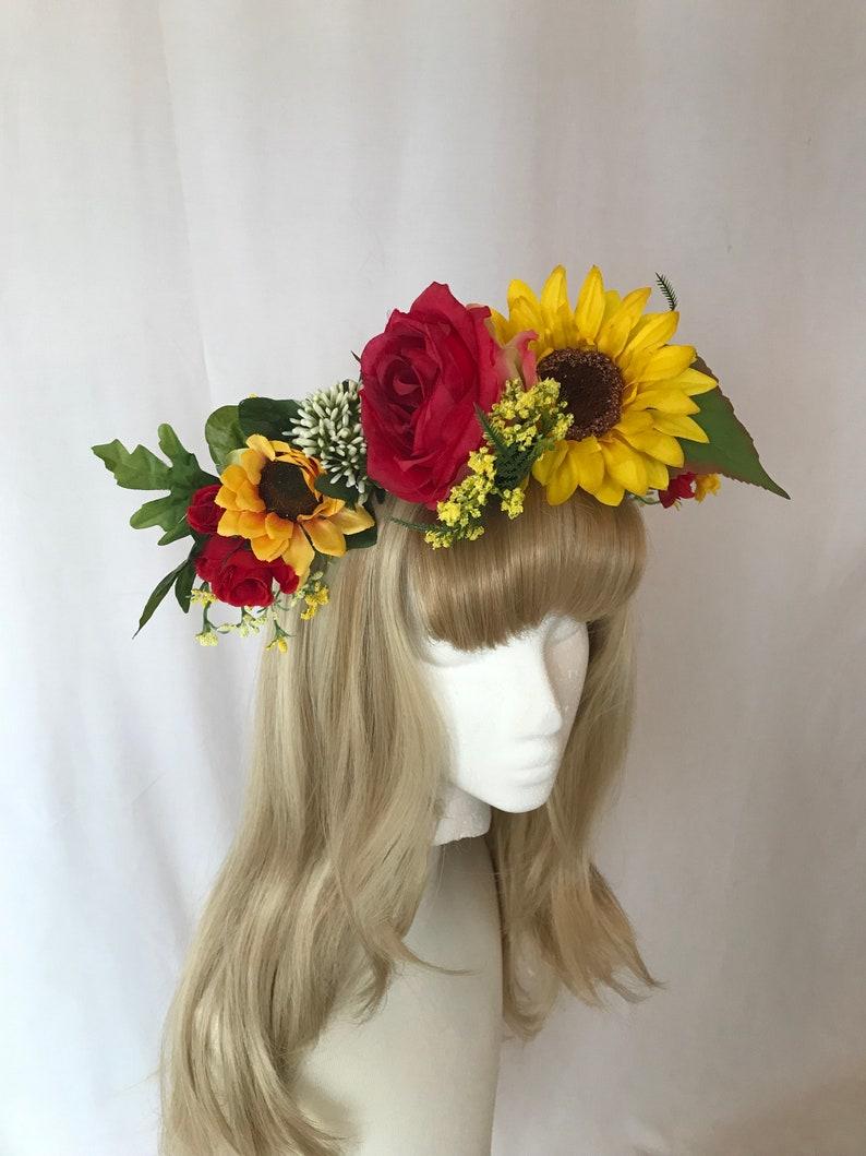 Burgundy Red Yellow Rose Sunflower Flower Garland Headband Hair Crown Band 2169