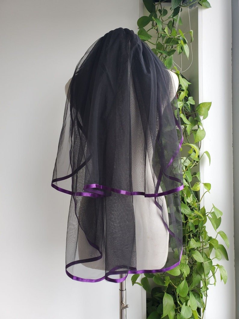 Two-layer purple ribbon bridal veil fingertip length bride veils wedding Vail White Ivoryblack purple Quality soft net wedding veil/&comb