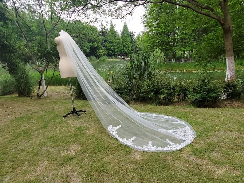 Luxury Rhinestone Cathedral bride veil White Ivory Lace Vail 1 tier wedding dress veil bridal accessories /& Comb Long 118\u201c