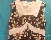 Vintage 60s Sleeveless Collared Flower Dress Handmade