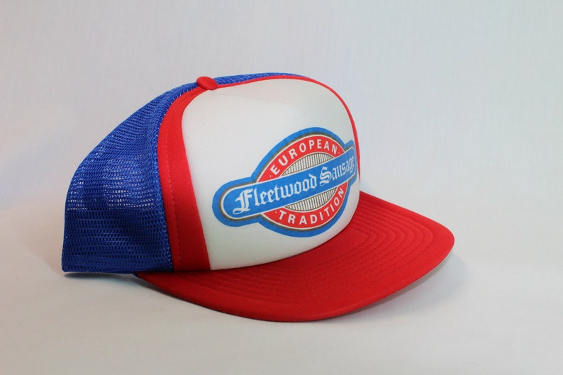 1980s FLEETWOOD SAUSAGE European Tradition Vintage Mesh Snap Back Trucker Hat