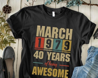 d7ee0546 Custom Birthday Vintage Shirt - Years Of Being Awesome - Personalized Birth  Tshirt - Retro Design - Funny Gift Ideas - Unisex Jersey Bella