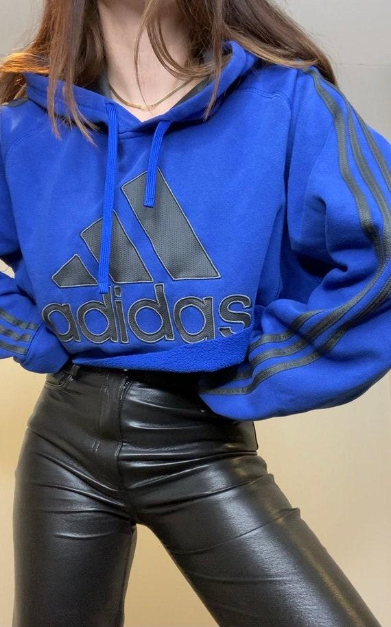 Vintage Royal Blue 00's Cropped Adidas Oversized S
