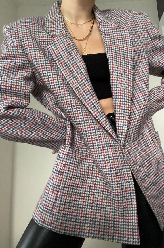 Vintage Checkered Houndstooth Oversized Blazer