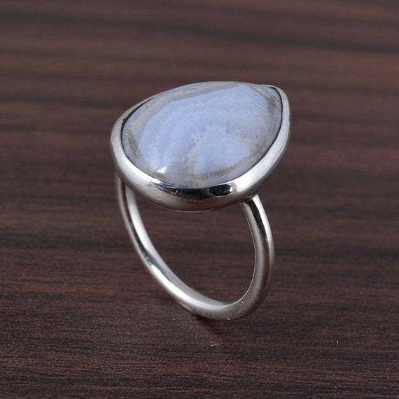 Blue Lace Agate Ring,Handmade Rings,Vintage Rings,Boho Rings,Brass Gemstone Rings,Personalized Rings,Unique Rings,Gift Ring,Rings For Her