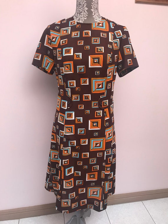 1960s Geometric Print Mod Shift Dress