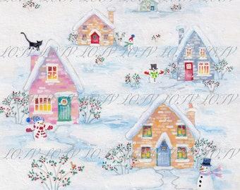 Snowy House - Christmas, Artwork, Watercolour, Digital