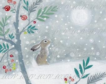 Snowy Deer - Christmas, Artwork, Watercolour, Digital