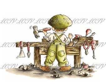 The Workbench - Male, Boy, DIY, Birthday, Artwork, Watercolour, Clip Art, Download, Printable, Personal and Commercial use.