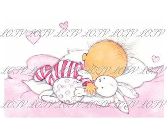 Fast Asleep Pink  - Baby Shower, Birth, Birthday, Artwork, Watercolour, Clip Art, Download, Printable, Personal and Commercial use.
