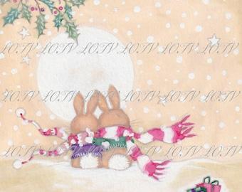 Romantic Rabbits - Christmas, Artwork, Watercolour, Digital