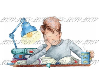 Oliver Studying - Teenage, Boy, Exams, University, Artwork, Watercolour, Clip Art, Download, Printable, Personal and Commercial use.
