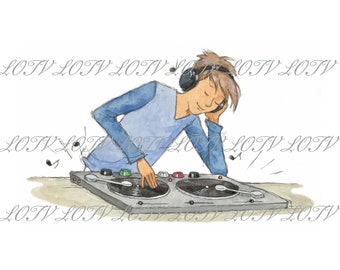 Oliver Music - Teenage, Boy, Music, DJ, Birthday, Artwork, Watercolour, Clip Art, Download, Printable, Personal and Commercial use.
