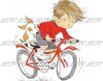 Riding My Bike - Male, Boy, Outdoors, Sport, Birthday, Artwork, Watercolour, Clip Art, Download, Printable, Personal and Commercial use.