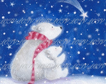 Starry Night - Christmas, Artwork, Watercolour, Digital