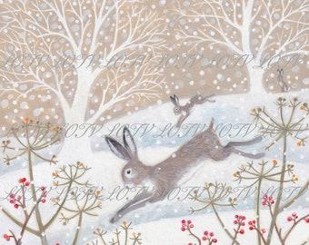Leaping Hares - Christmas, Artwork, Watercolour, Digital