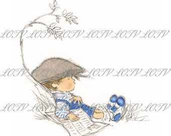 Lazy Afternoon - Male, Boy, Outdoors, Relax, Birthday, Artwork, Watercolour, Clip Art, Download, Printable, Personal and Commercial use.