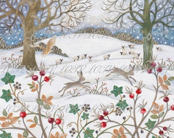 Countryside Winter - Christmas, Artwork, Watercolour, Digital