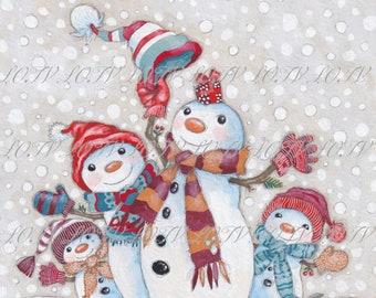 Snow Much Fun - Christmas, Artwork, Watercolour, Digital