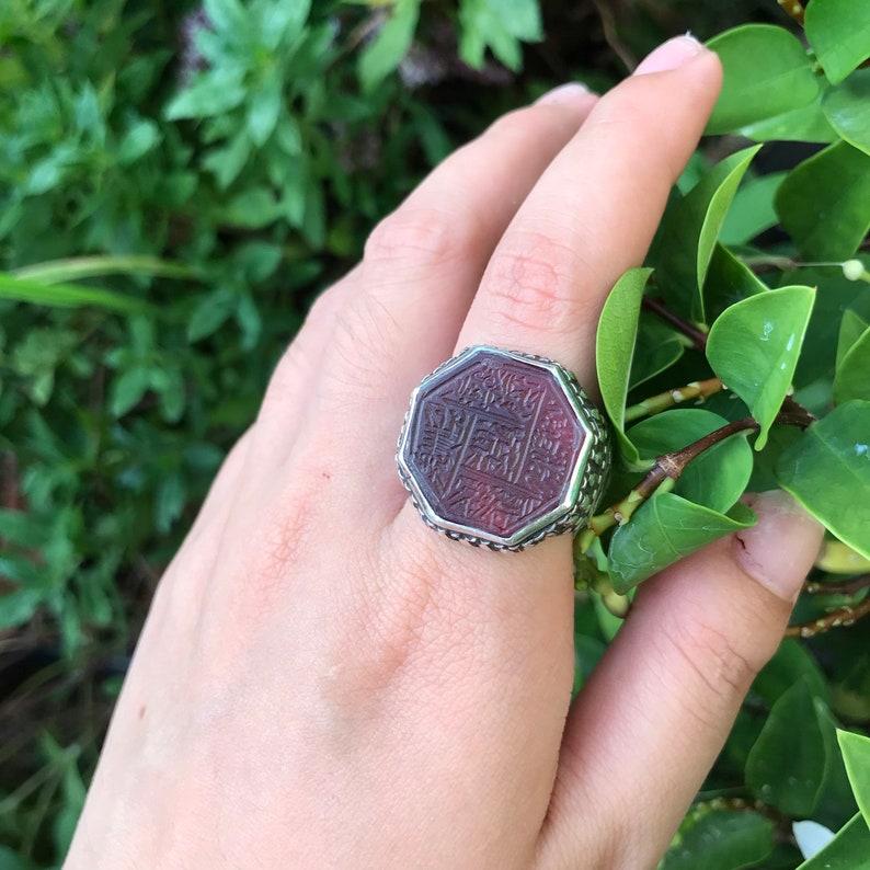Vintage afghani Arabic script silver ring
