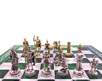 Chess greek board with Neptune chess pieces Harisis 10 6 | Etsy