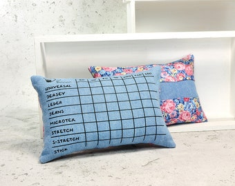 Sewing machine needles cushion | UPCYCLING JEANS | Needle scale for 8 different needle types and 7 needle thicknesses | Light blue 110HB |