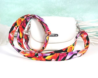 "Pocket strap / shoulder strap narrow ""Callas"" narrow, floral pattern, black-colored, hand-sewn & adjustable, 25 mm wide, washable"