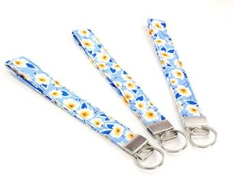 Lanybar short, Blue Daisy, with key ring, 16 cm - cotton, washable - stylish and beautifully colorful, gift