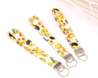 Lanybar short, smileys, with key ring, 16 cm - cotton, washable - stylish and beautifully colorful, gift
