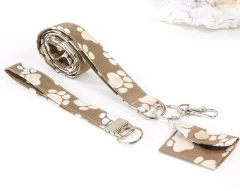 3 piece lanyard - set, made of fabric, paws brown-white, with bags, carabiners and key rings