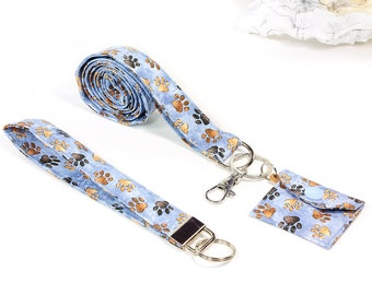 Lanyard/lanyards made of fabric, paws blue-brown with chip bags, carabiners & key rings, 3 parts, gift accessories