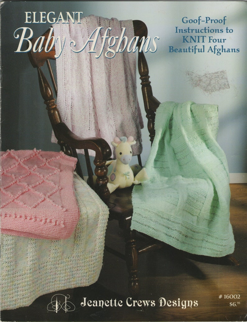 4 Designs Pattern//Instructions Leaflet Baby Afghans to Knit and Crochet