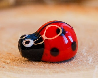 Handmade 925 Sterling Silver Screw Core Blue Ladybug Murano Glass Beads Fits All European DIY Jewelry Bracelets Necklaces ZD33