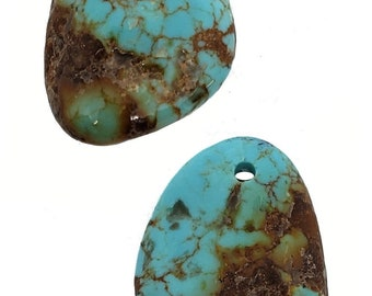 RARE Number 8 Turquoise 3 Nugget Focal Bead SET