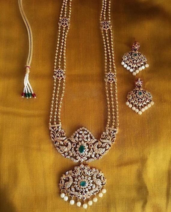 Indian Traditional Golden Haram Necklace Set Kemp Stone Etsy