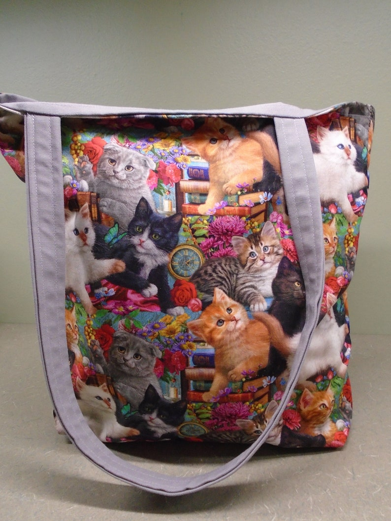 Kitties cats kittens tote bag pets multi-colors gray accents