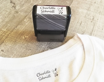 Textile stamp / self-inking stamp / personalized with name / custom / stamp for clothes / kindergarten / school
