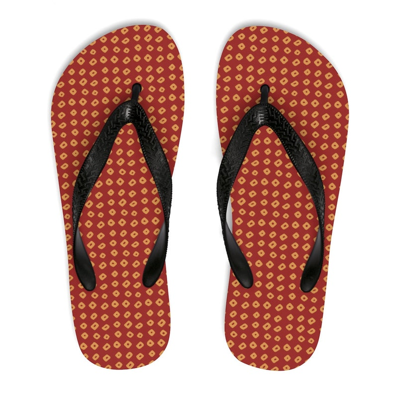 Rust Tie Dye Unisex Flip-FlopsFashion Peruvian Slippers FootwearFashionable Summer Sandals for Vacation Fun at the Beach or Pool