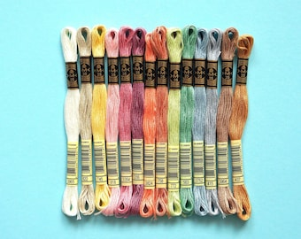 14x Embroidery Thread by DMC in pastel shades, Large Embroidery Floss Assortment, Mouline Special, Embroidery Twist, Thread Assortment, DIY