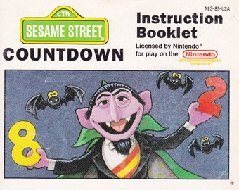 Sesame Street Countdown - Nintendo NES - Authentic Original Manual Only - Instruction Booklet