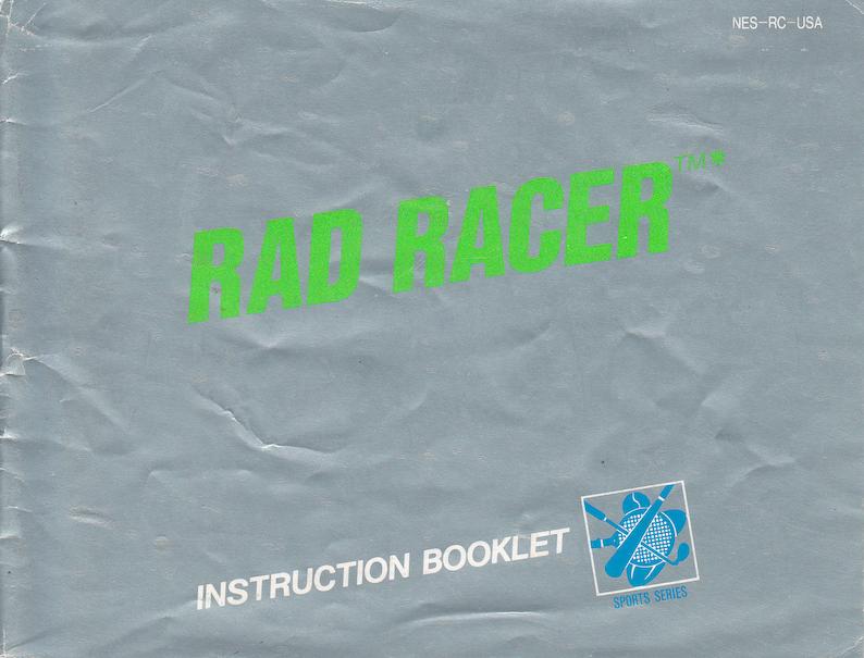 Rad Racer  Nintendo NES  Original Manual Only  Authentic  image 0